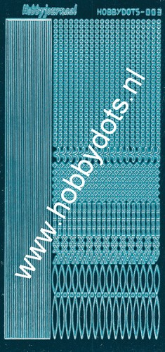 Hobbydots - Stickervel - Mirror Turquoise - Serie 3 (stdm03D)