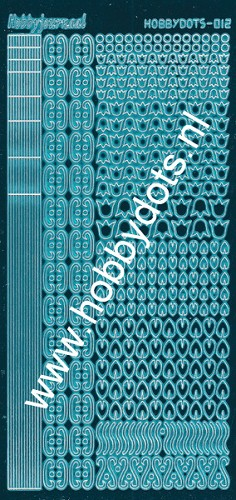 Hobbydots - Stickervel - Mirror Turquoise serie 12 (stdm12D)