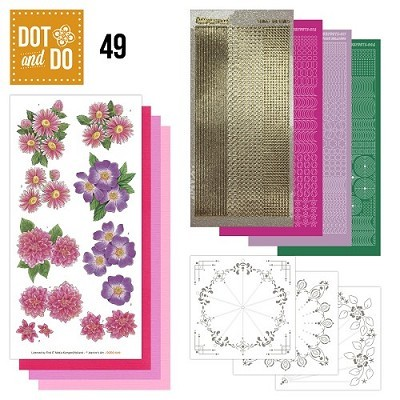 Hobbydots - Dot en Do Set - Roze Bloemen - Dodo049