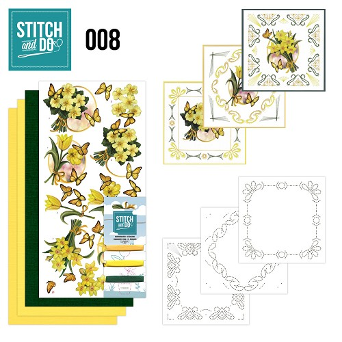 Stitch en Do Set 8 - Amy Design - Gele Bloemen - STDO008