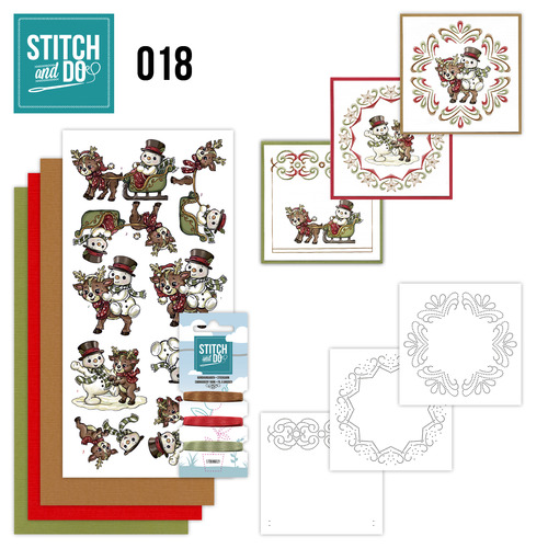 Stitch en Do Set 18 - Yvonne Creations - Snowman and Reindeer - STDO018