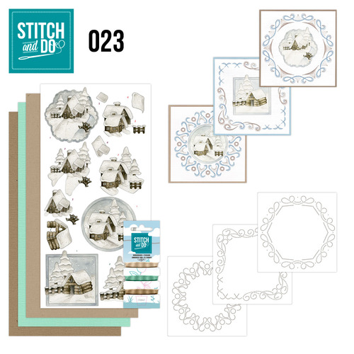 Stitch en Do Set 23 - Precious Marieke - Snow Cabins - STDO023