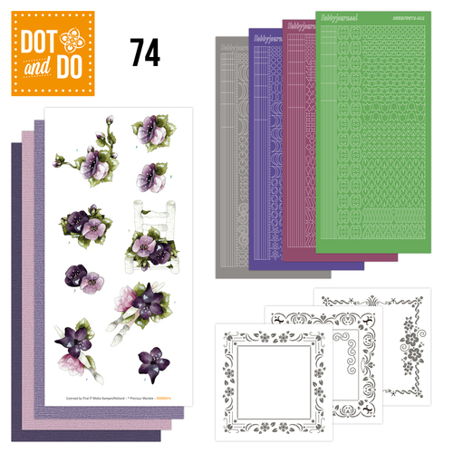Hobbydots - Dot and Do 74 - Purple Flowers - Precious Marieke - Dodo074