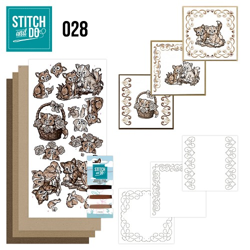 Stitch and Do 28 - Brown Cats - Yvonne Creations - Stdo28