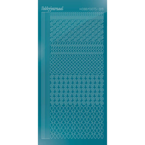 Hobbydots - Stickervel - Mirror Turquoise - Serie 19 (stdm19D)