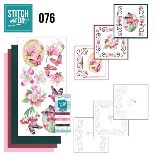 Stitch and Do 76 - Pink Flowers - Jeanine Art - Stdo076