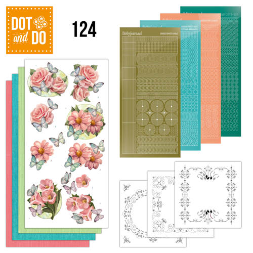 Hobbydots - Dot and Do 124 - Pink flowers and butterflies - Dodo124